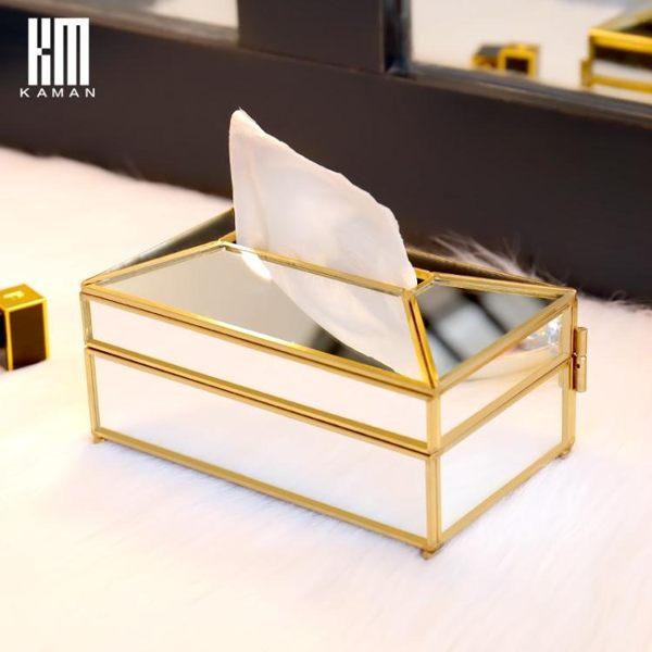 紙巾盒 玻璃紙巾盒客廳茶幾抽紙創意鏡面奢華歐式復古家居家用紙巾收納盒