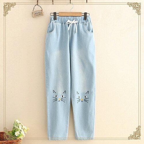 *ORead* 貓咪刺繡牛仔褲(2色S~L) 1