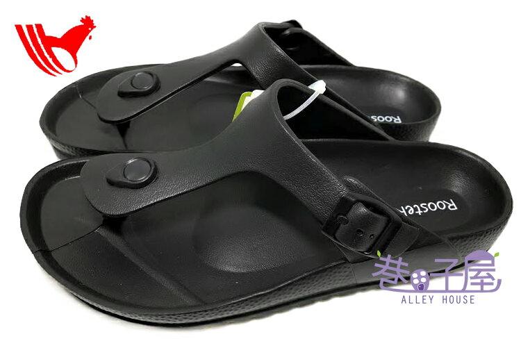 【巷子屋】ROOSTER公雞 男/女款漾彩時尚勃肯超輕T字拖鞋 [1381] 黑 超值價$198
