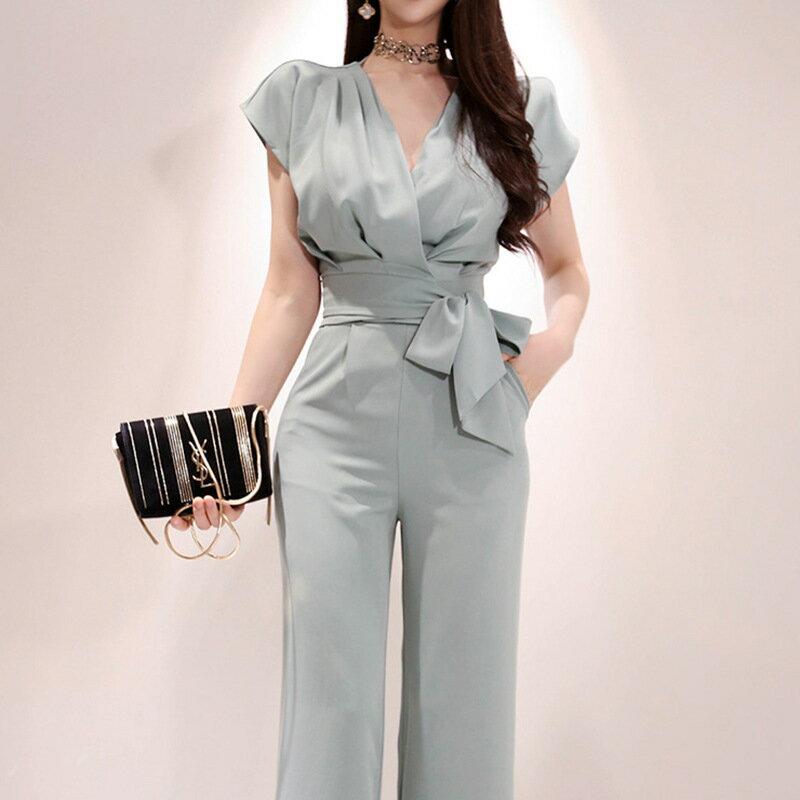 新款兩件套2021夏裝韓版氣質V領繫帶上衣時尚女褲職業套裝女