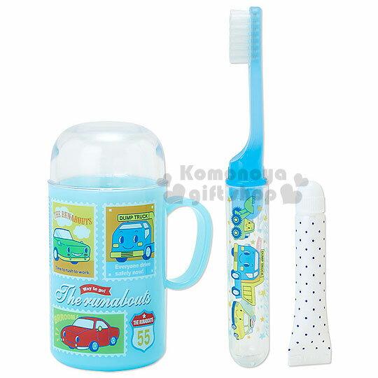 〔小禮堂〕RB工程車 日製旅行牙刷杯組《藍.郵票.多輛車》攜帶方便可愛