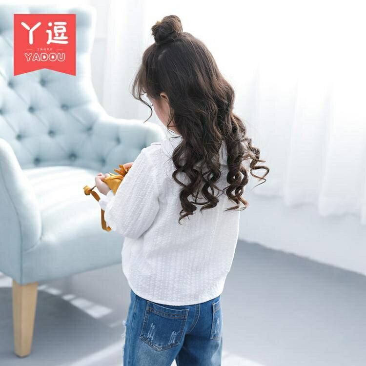 女童襯衫 女童襯衫春裝新款韓版兒童白色上衣春秋小女孩洋氣娃娃領襯衣