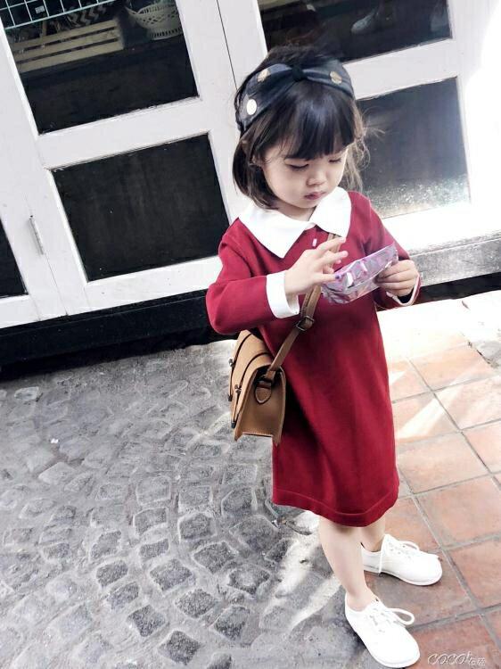 兒童連身裙 童裝女童連身裙新款寶寶新年春秋裝兒童韓版針織紅裙子