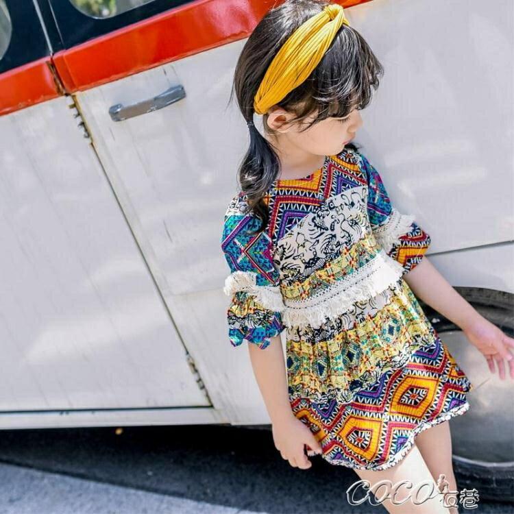 兒童連身裙 童裝女童夏裝新款人造棉民族風兒童夏天小女孩裙子寶寶連身裙