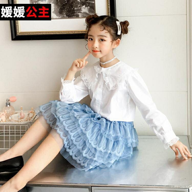 女童襯衫 女童春裝新款襯衫兒童中大童洋氣韓版蕾絲花邊女孩春秋襯衣潮