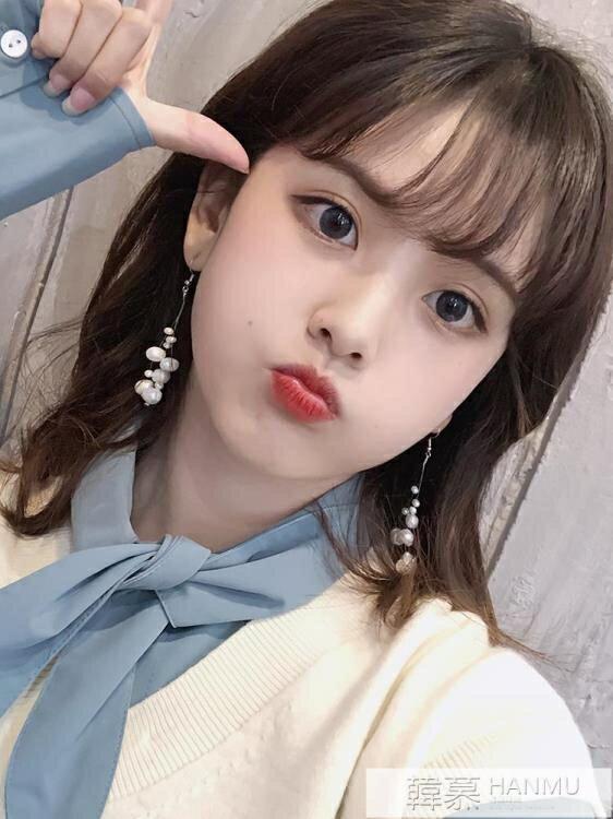 韓國長款天然淡水珍珠串耳環女氣質復古耳墜純銀無耳洞耳夾03