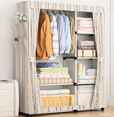 衣櫃 拆卸方便簡易布衣櫃宿舍加固隔層儲物櫥掛衣服架折疊放被子收納箱