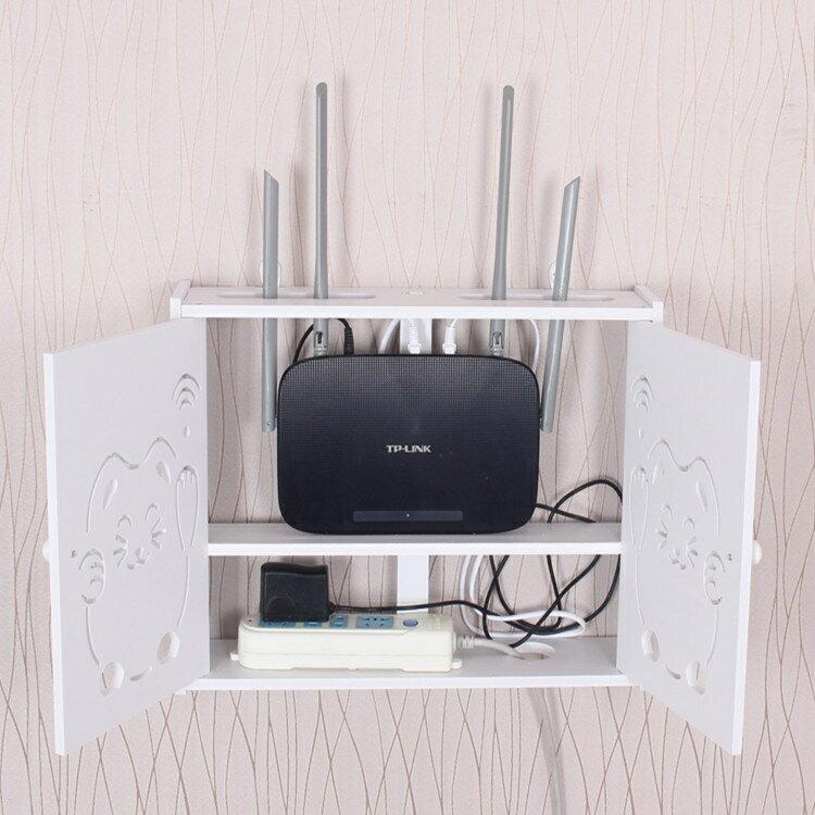 wifi機掛架 無線路由器收納盒壁掛架WiFi置物架免打孔多媒體遮擋箱機頂盒架子