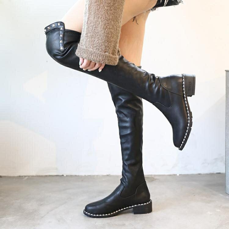 膝上靴 過膝靴小個子女長靴秋冬新款彈力高筒靴網紅瘦瘦長筒靴女粗跟