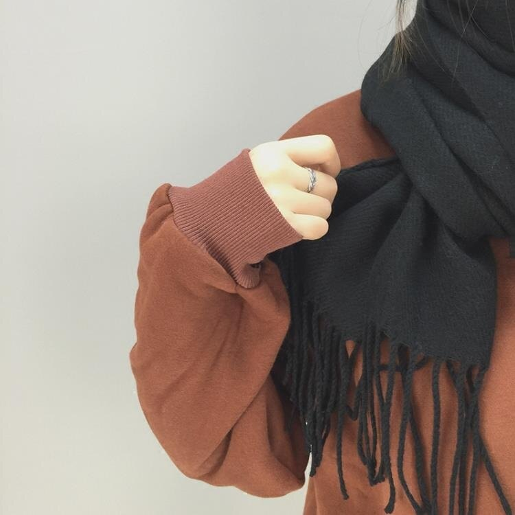 圍巾黑色圍巾女秋冬冬季素色韓版學生簡約針織百搭原宿圍脖日系小清新
