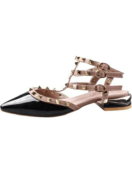 涼鞋-包頭涼鞋女仙女風ins潮鉚釘年新款時裝紅色粗跟尖頭網紅單鞋