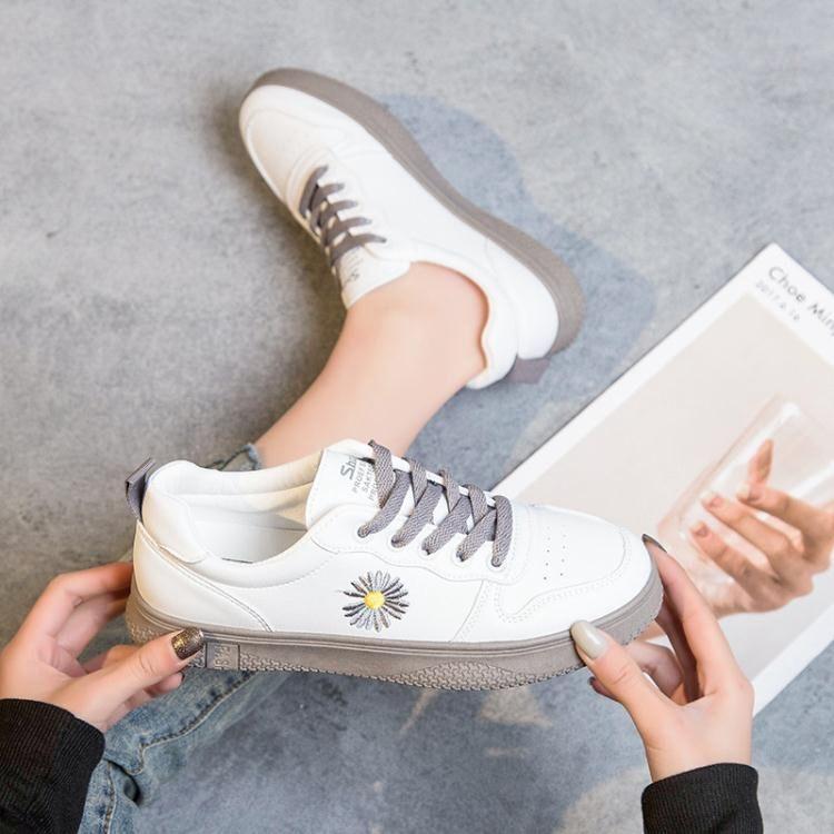 小雛菊小白鞋女潮鞋春季新款百搭ins板鞋學生平底洋氣白鞋子