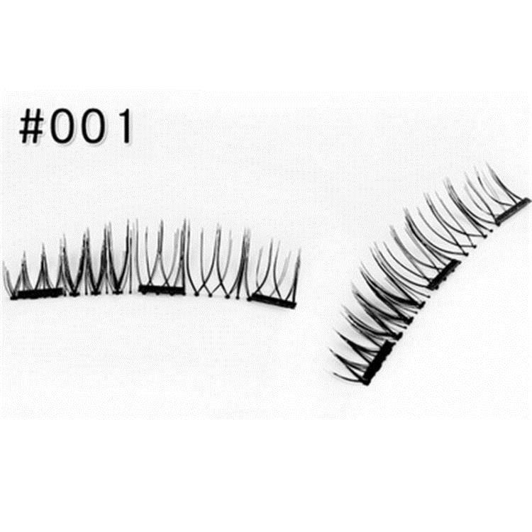假睫毛 雙磁鐵假睫毛3D磁性假睫毛手工制作自然逼真磁鐵睫毛免膠水