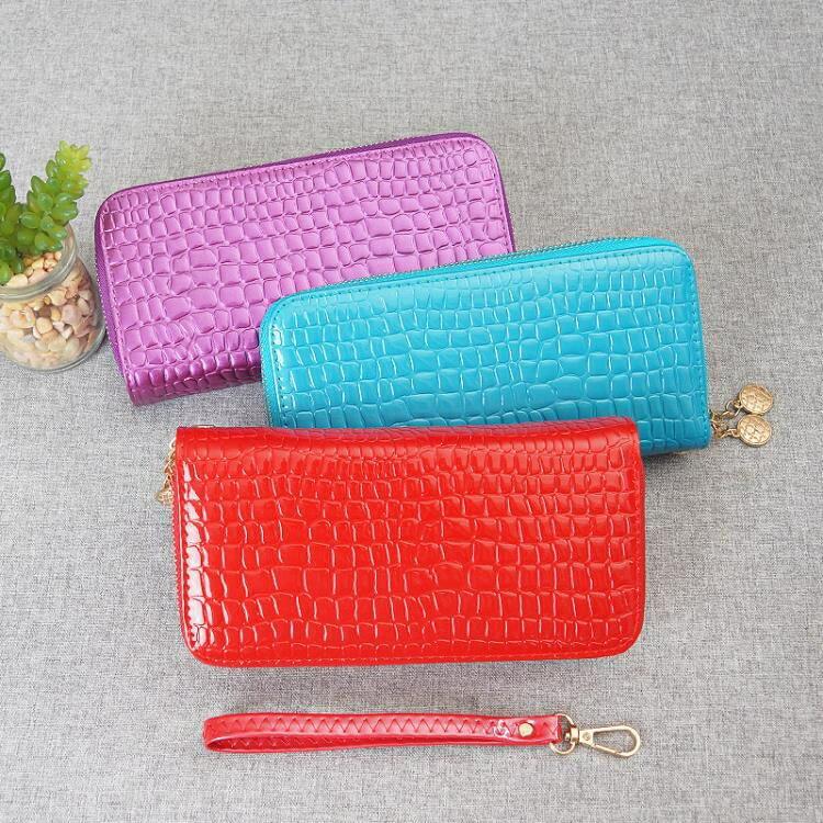長夾 長款錢包女新款鱷魚紋手拿包多功能雙拉鍊大容量手機零錢卡包