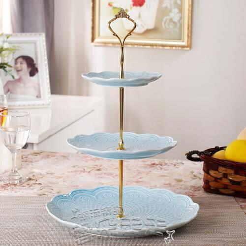 果盤歐式創意陶瓷三層水果盤家用客廳甜品點心架蛋糕架