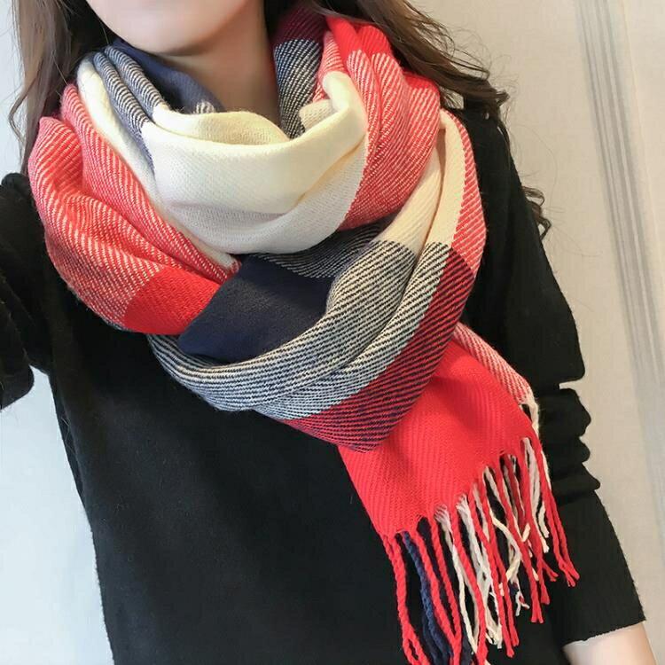 羚羊早安韓版保暖女士圍巾 大規格毛線格子圍巾披肩兩用