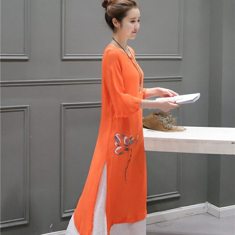 茶禪服 棉麻洋裝文藝復古茶人服女禪意禪修漢服茶道茶藝師服裝夏中國風
