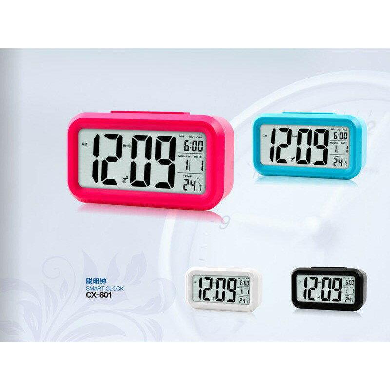 光控聰明鐘 CX-801帶溫度顯 二組鬧鈴設定智慧工作型鬧鐘日歷/星期/LED電子鬧鐘/時鐘居家必備xxxboykimo