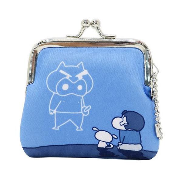 藍色款【日本進口】蠟筆小新 野原新之助 小型 防震棉 珠扣包 零錢包 吊飾孔設計 - 439613