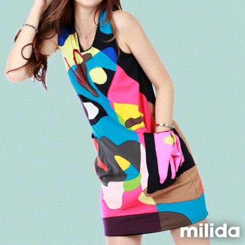 【Milida,全店七折免運】無袖大口袋可愛洋裝 1