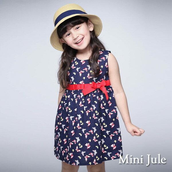 《MiniJule童裝》洋裝滿版蝴蝶無袖洋裝(寶藍)