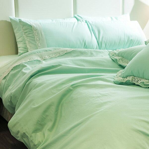 床包被套組雙人加大【雪莉布蕾-綠】含兩件枕套,100%精梳棉,在巴黎遇見系列,獨家花色,戀家小舖台灣製