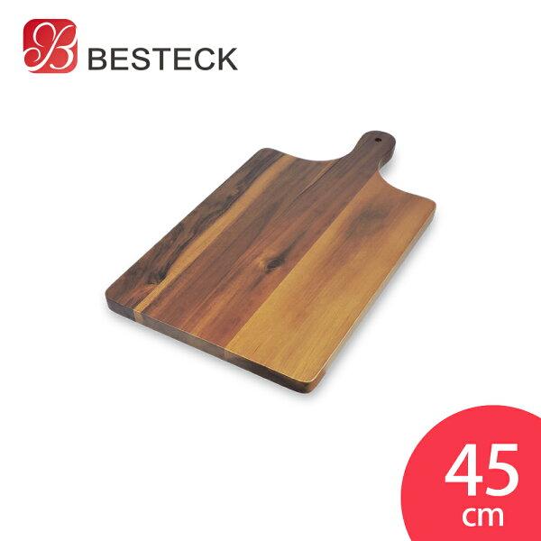 鉑晶國際生活館:BESTECK洋槐木單柄長方托盤45cm(2入)