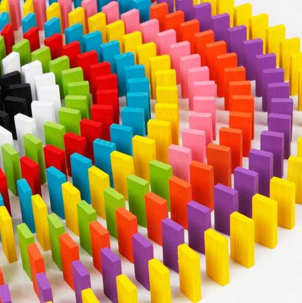 【省錢博士】嬰幼兒早教益智玩具 / 120片彩虹多骨牌 / 木製積木