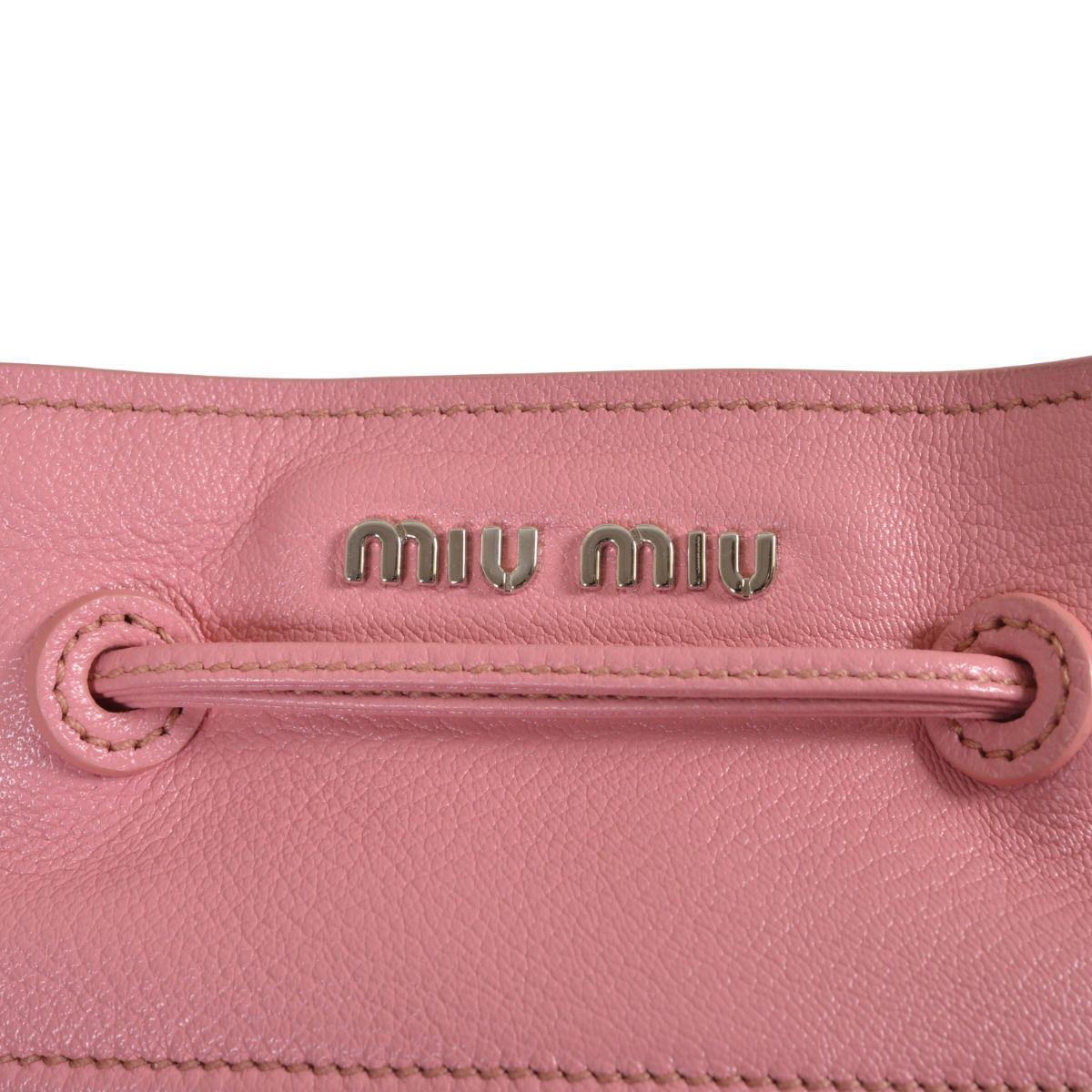 Miu Miu Women's Two Tone Leather Bucket Handbag Shoulder Bag 6