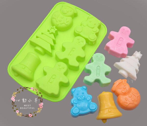 薑餅人 小熊 雪人 聖誕樹 鈴鐺6連模矽膠皂模 皂模具6孔6連蛋糕、麵包、慕思、果凍、調理