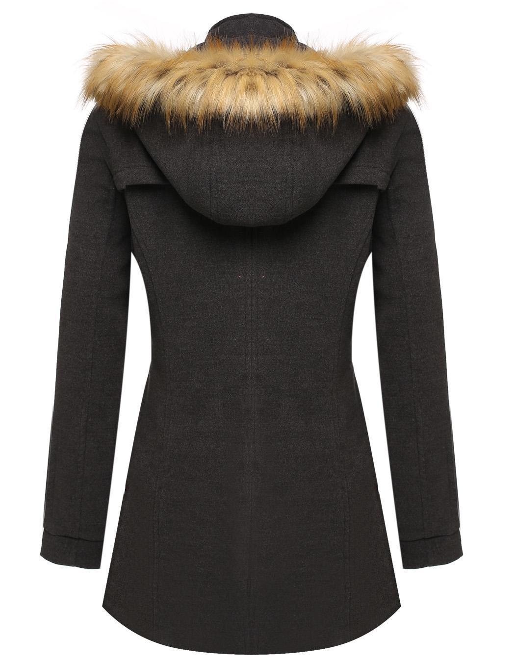 Women Detachable Faux Fur Hooded Long Solid Slim Wool Blend Coat 2