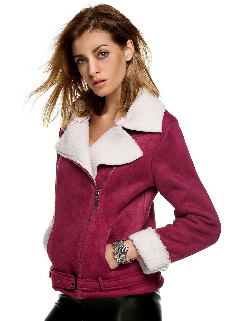 Women Lapel Long Sleeve Solid Fleeve Warm Coat 4