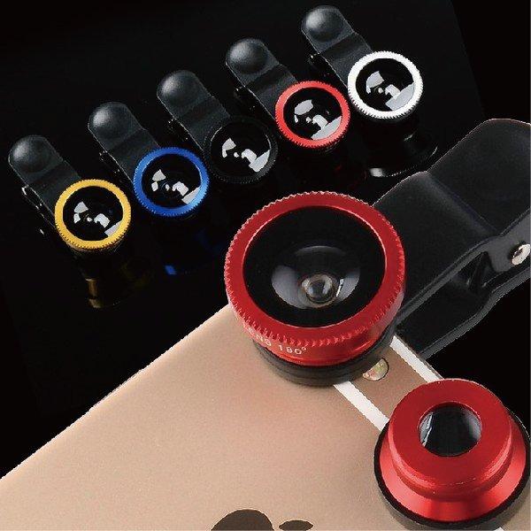 iPhone6萬用三合一廣角超微距魚眼夾子鏡頭夾通用【櫻桃飾品】【21755】