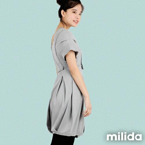 【Milida,全店七折免運】-早春商品-V領款-花苞百褶洋裝 5