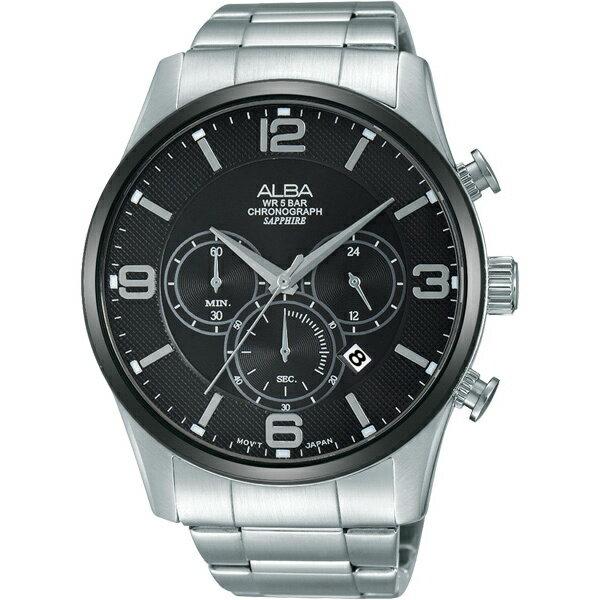 ALBA VD53-X217D(AT3823X1)街頭三眼計時腕錶/黑面45mm