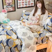 居家生活寢具推薦床包 被套 兩用被 加大床包組/Kingsiz床包組 台灣製造 棉床本舖 [ 藍色檸檬與落葉(床包檸檬) ] 好窩生活節。就在棉床本舖Annahome居家生活寢具推薦