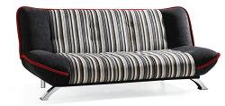 !新生活家具!《華莉絲》藍條紋 沙發床 三人位沙發 布沙發 棉絨布 三段調節 可拆洗 簡約 現代 兩色