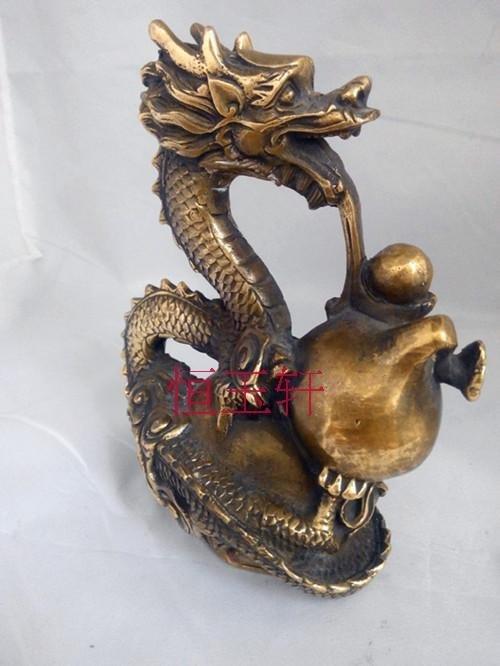 開光黃銅葫蘆龍福祿鎮宅招財化煞銅器擺件風水工藝品家居飾品