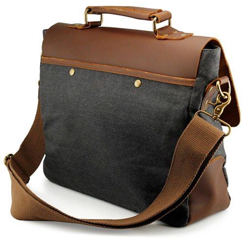 Men's Vintage Canvas Leather Satchel School Military Messenger Shoulder Bag Travel Bag - Gray 2