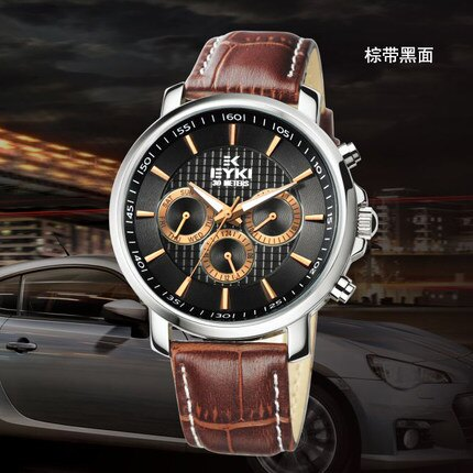 刻度功能表真皮防水石英表时尚皮带表男士手表十天预购+现货