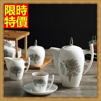 下午茶茶具含咖啡杯+茶壺組合-6人簡約歐式骨瓷茶具2色69g18【獨家進口】【米蘭精品】