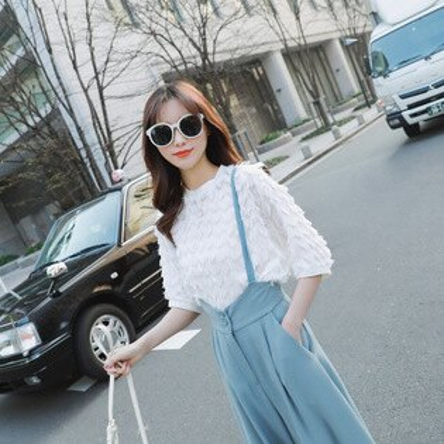 韓系女裝半袖雪紡圓領純色上衣T恤樂天時尚館。預購