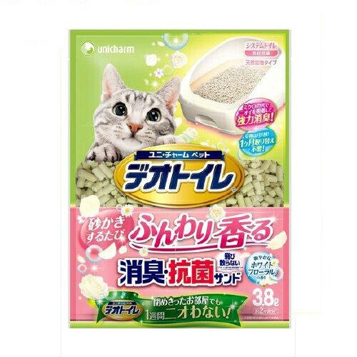 《日本Unicharm 嬌聯》消臭抗菌花香貓砂3.8L條砂 (約2個月份量) 1