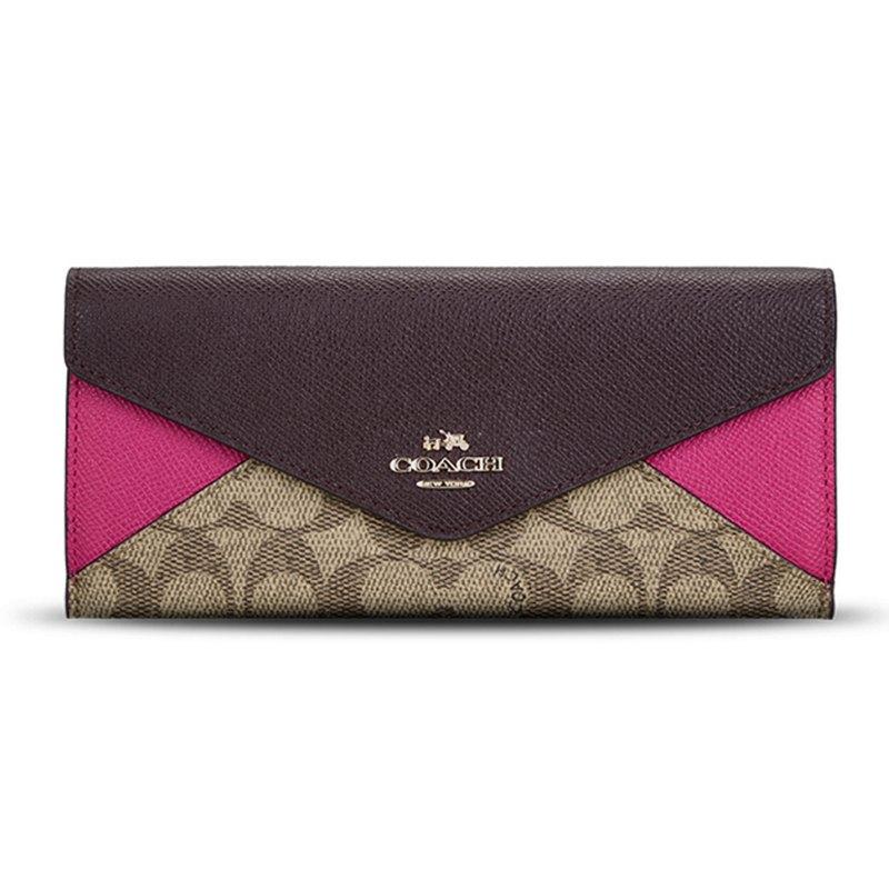 (Smile) COACH F55065 女士拼色織物配皮錢包錢夾卡其深紅