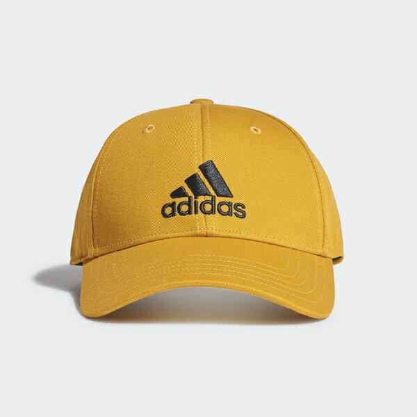 【領券再九折】ADIDAS 棒球帽 鵝黃 刺繡黑 三線 老帽 鴨舌帽 基本款 (布魯克林) GE0633