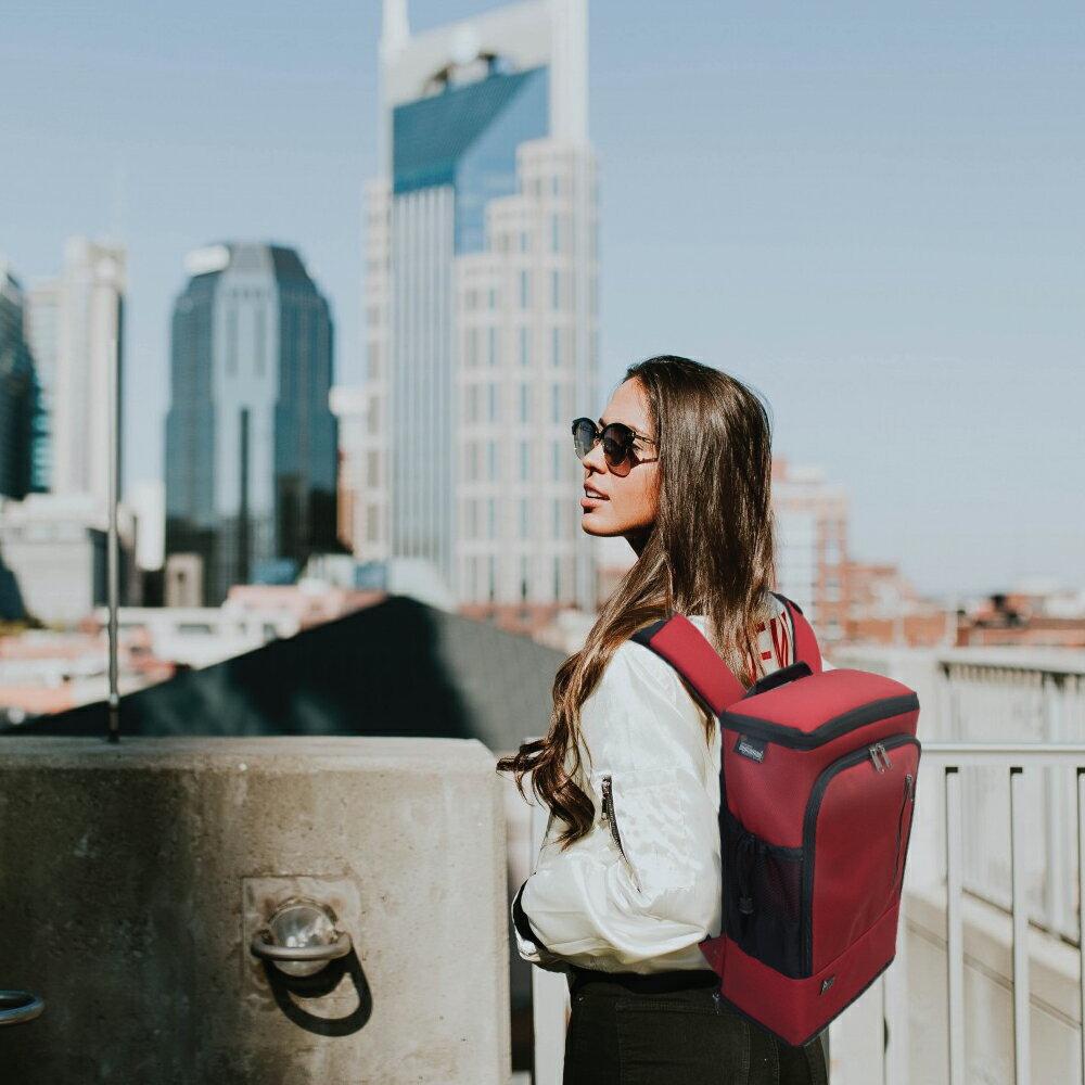 PackChair椅子包 電腦包 自助旅行包 登機包 盾牌包 防身包 書包 後背包 排隊逛街 紅色有胸扣版 1