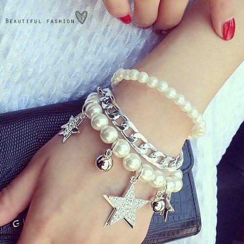 多層星星珍珠手環10039【櫻桃飾品】【10039】