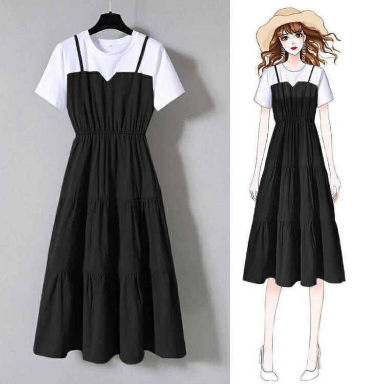 大碼洋裝 大碼女裝2021夏季新款時尚洋氣減齡假兩件長裙收腰顯瘦連身裙子女 果果輕時尚