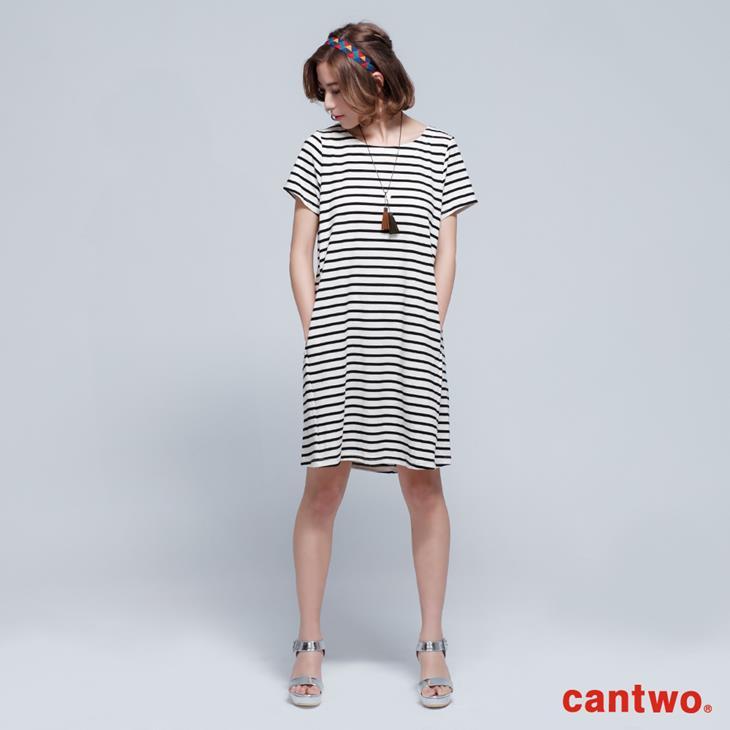 cantwo雙色條紋短袖洋裝(共三色) 0