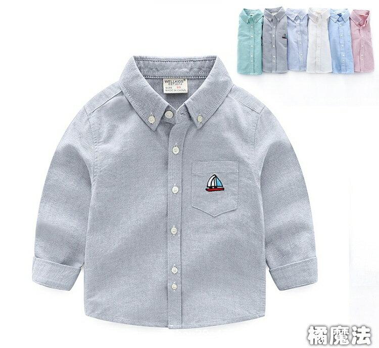 男童帆船刺繡襯衫 長袖上衣 橘魔法 Baby magic 現貨 兒童 童裝 童 中童 男童 襯衫 - 限時優惠好康折扣
